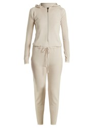 Pepper And Mayne Hooded Cashmere Jumpsuit Cream