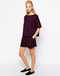 Mango Checked Short Navy