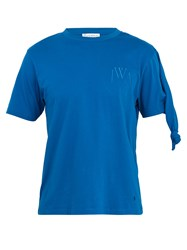 J.W.Anderson Logo Embroidered Knot Detail Crew Neck T Shirt Blue