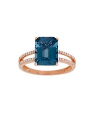 Lord And Taylor Diamond London Blue Topaz 14K Rose Gold Ring