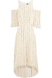 Tibi Bella Cutout Metallic Fil Coupe Silk Blend Maxi Dress White