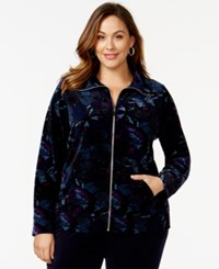 Styleandco. Style And Co. Sport Plus Size Butterfly Print Velour Active Jacket Only At Macy's Blue Multi