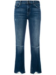 J Brand Cropped Distressed Jeans Cotton Polyurethane Blue