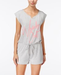 Material Girl Active Juniors' Graphic Romper Only At Macy's Heather Platinum