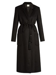 Hillier Bartley Tassel Tie Cashmere Coat Black
