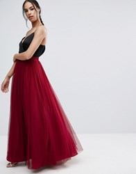 Asos Tulle Maxi Skirt Red