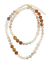 Emily And Ashley Long Crystal Beaded Necklace Neutral