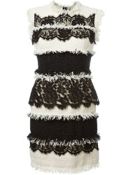 Lanvin Mixed Tweed Lace Dress Nude And Neutrals