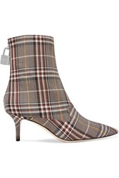 Monse Lock Plaid Canvas Ankle Boots Brown