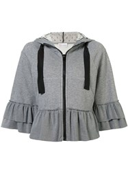 Red Valentino Ruffled Zipped Hoodie Grey