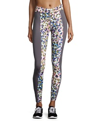 Charlie Jade Animal Print Colorblock Leggings Grey Multi