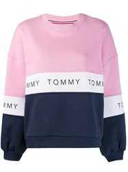 Tommy Jeans Oversized Colour Block Sweatshirt Pink