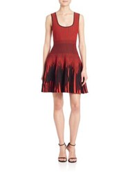Rvn Stripe Fit And Flare Dress Black Red