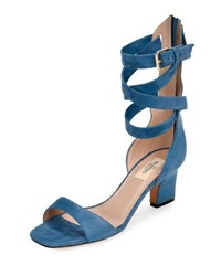 Valentino Plum Suede Back Zip Ankle Wrap Sandal Blue