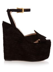 Gucci Sally Suede Wedge Sandals Black