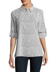 Ellen Tracy Neo Romanticism Casual Button Front Striped Shirt White