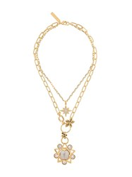 Alberta Ferretti Crystal Flower And Star Necklace Gold