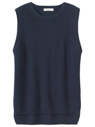 Toast Fisherman Rib Knitted Vest Navy