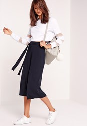 Missguided Ribbed Tie Belt Culottes Navy Blue