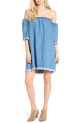 Fire Women's Love Frayed Denim Off The Shoulder Dress