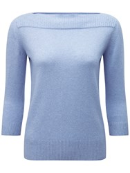 Pure Collection Grace Boat Neck Cashmere Jumper Chambray Twist