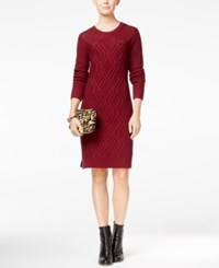 Tommy Hilfiger Adela Cable Knit Sweater Dress Wine Masters Navy
