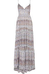 L'agence Honore Smocked Printed Silk Maxi Dress Multi