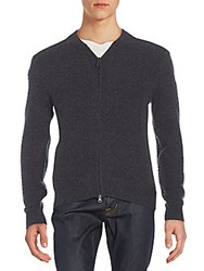 Saks Fifth Avenue Rib Knit Cashmere Cardigan Charcoal