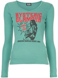 Hysteric Glamour Born To Loose V Neck Blouse Green