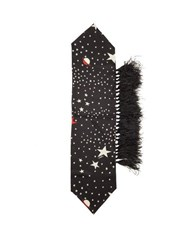 Valentino Star Print And Feather Silk Scarf Black White