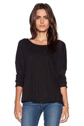 Lanston Long Sleeve Scoop Neck Tee Charcoal