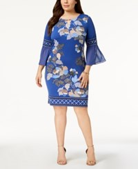 Jm Collection Plus Size Embellished Bell Sleeve Dress Created For Macy's Blue Delicate Dot