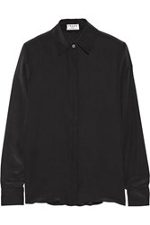Frame Denim Le Classic Washed Silk Charmeuse Shirt Black