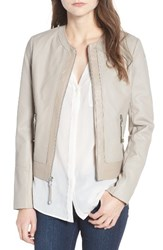 Via Spiga Women's Two Tone Collarless Leather And Ponte Jacket