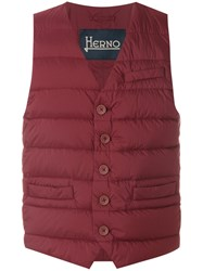 Herno Classic Padded Gilet Men Polyamide Polyurethane Feather Goose Down 50 Red