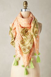 Anthropologie Embroidered Paisley Square Scarf Tangerine