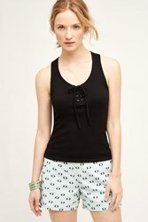 Anthropologie Lace Up Racerback Tank Black