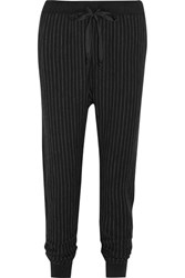 Clu Satin Trimmed Pinstriped Cotton Blend Jersey Track Pants Black