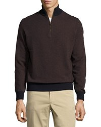 Luciano Barbera Salt And Pepper Cashmere Half Zip Pullover Blue Brown