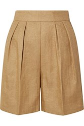 Theory Pleated Woven Shorts Beige