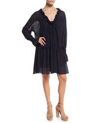 See By Chloe Long Sleeve Smocked Voile Shift Dress Navy