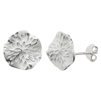 Nina B Sterling Silver Wavy Disc Stud Earrings