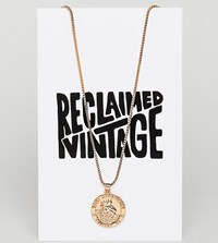 Reclaimed Vintage Inspired Coin Pendant Necklace Gold