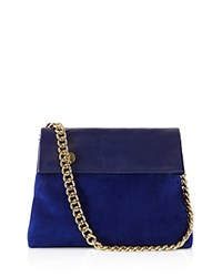 Karen Millen Regent Suede Shoulder Bag Blue Gold