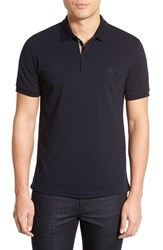 Men's Burberry Brit 'Oxford' Short Sleeve Polo Dark Navy