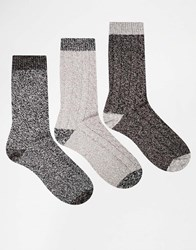 Asos Boot Socks 3 Pack In Grey With Contrast Heel And Toe Grey