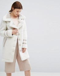 Urbancode Bonded Suedette Coat With Borg Trim Beige