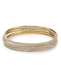 Abs By Allen Schwartz Pave Bangles Set Of 3 Gold Crystal