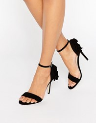 Faith Ruffle Party Sandals Black