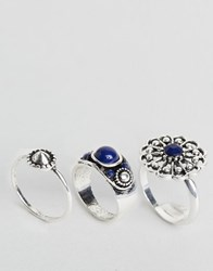 Designb London 3 Pack Of Chunky Stone Rings Silver